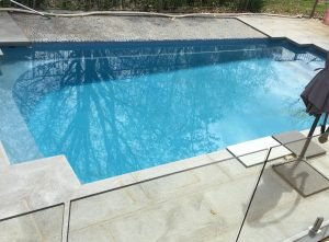 Salt staining on fibreglass pool - after